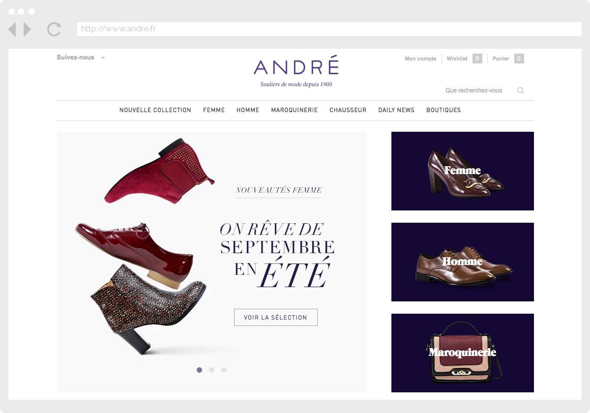 Ecran 1 du site André