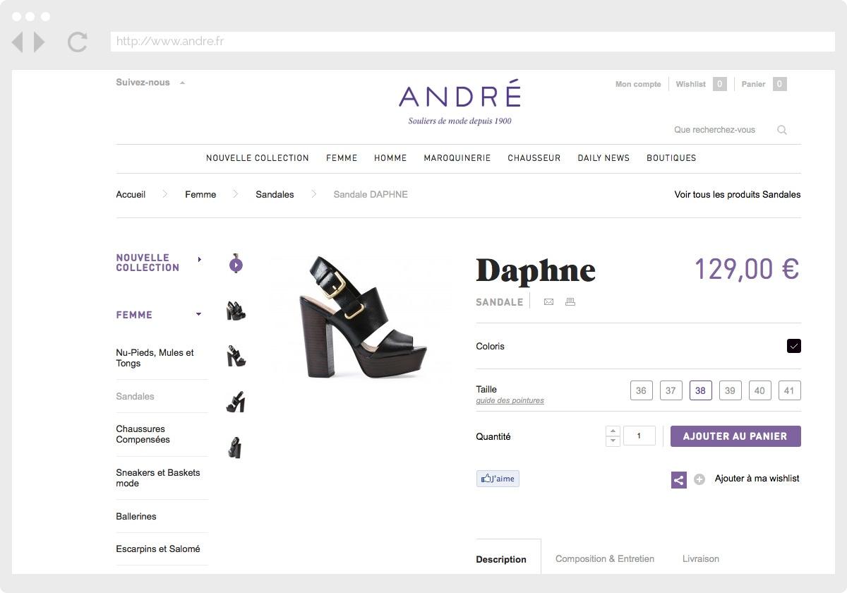 Ecran 2 du site André
