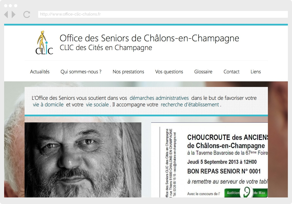 Ecran 1 du site Office des Seniors