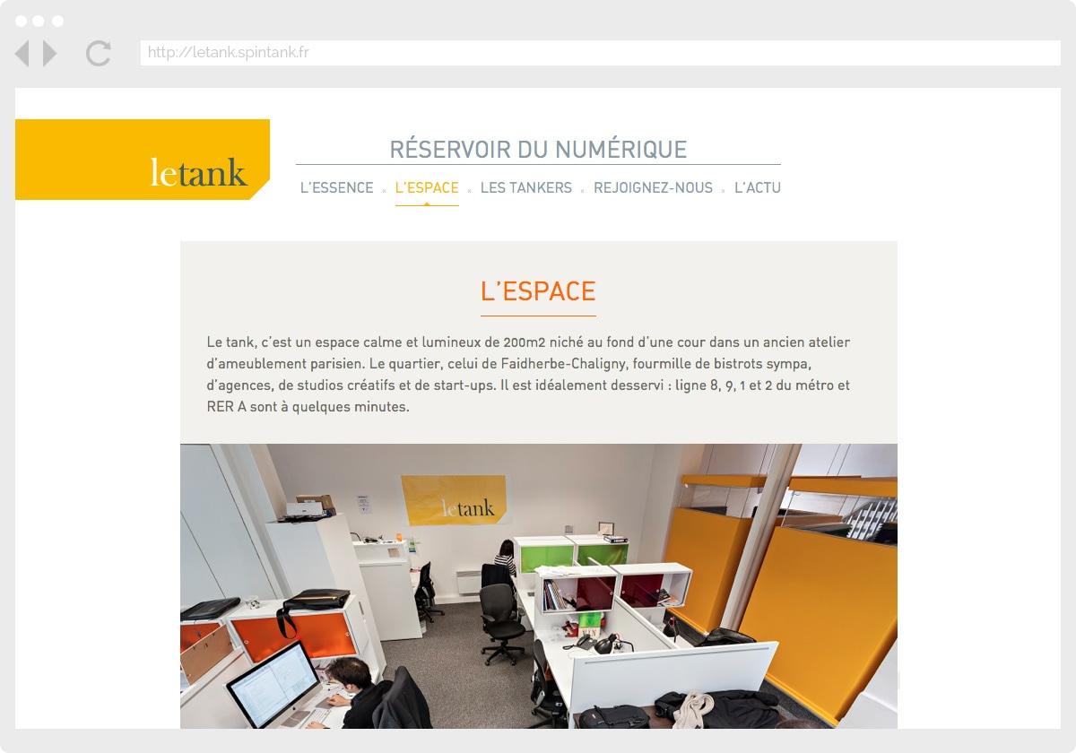 Ecran 1 du site Le Tank