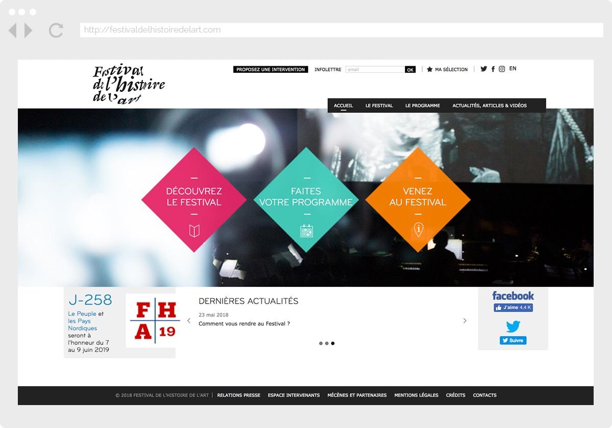 Ecran 1 du site Festival Histoire de l'Art