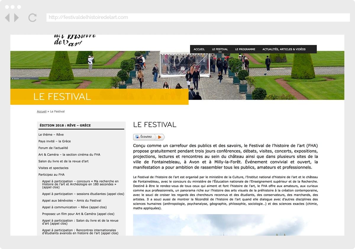 Ecran 2 du site Festival Histoire de l'Art