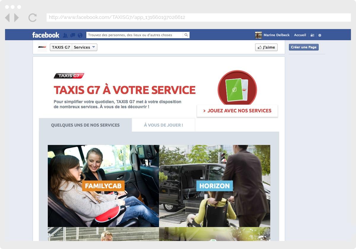 Ecran 1 du site Taxis G7 : services