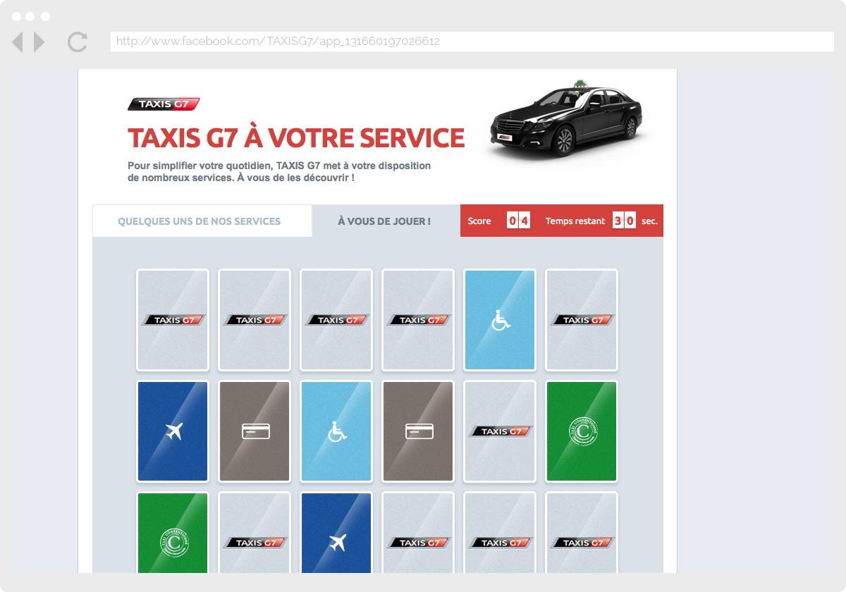Ecran 2 du site Taxis G7 : services