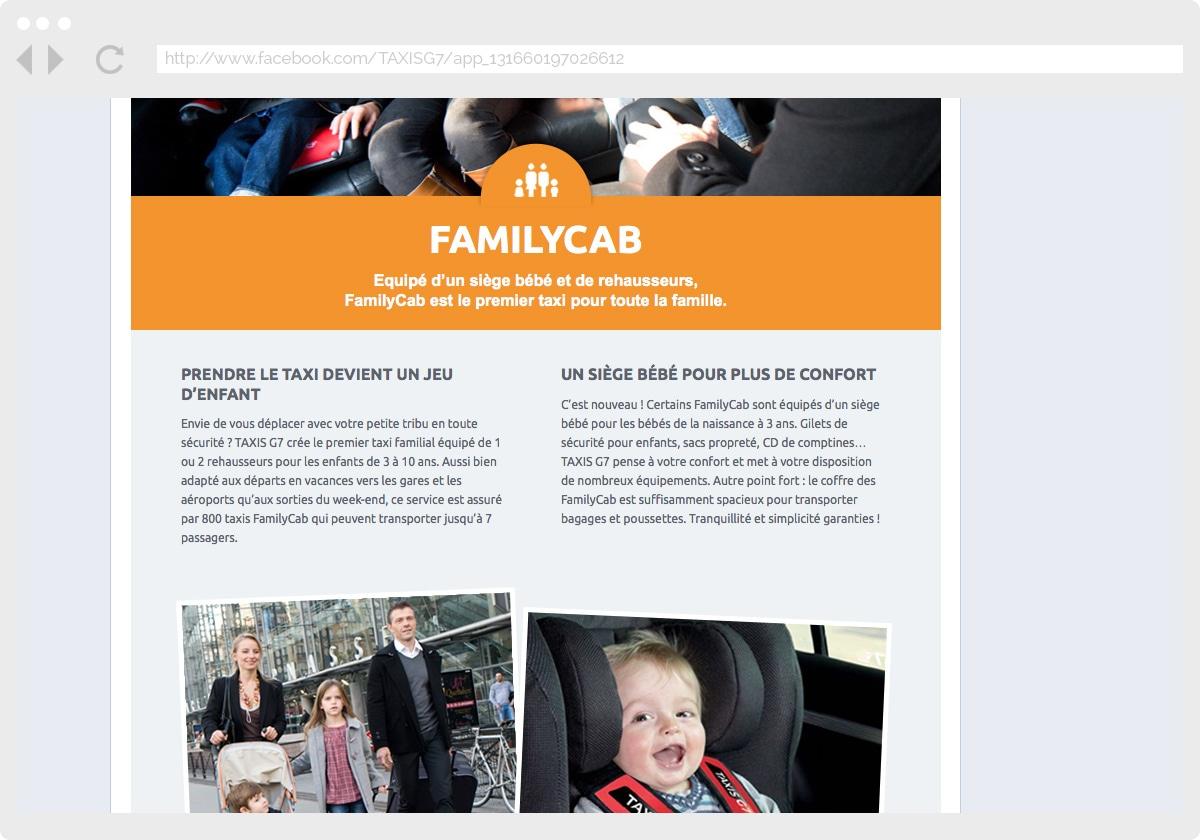 Ecran 3 du site Taxis G7 : services