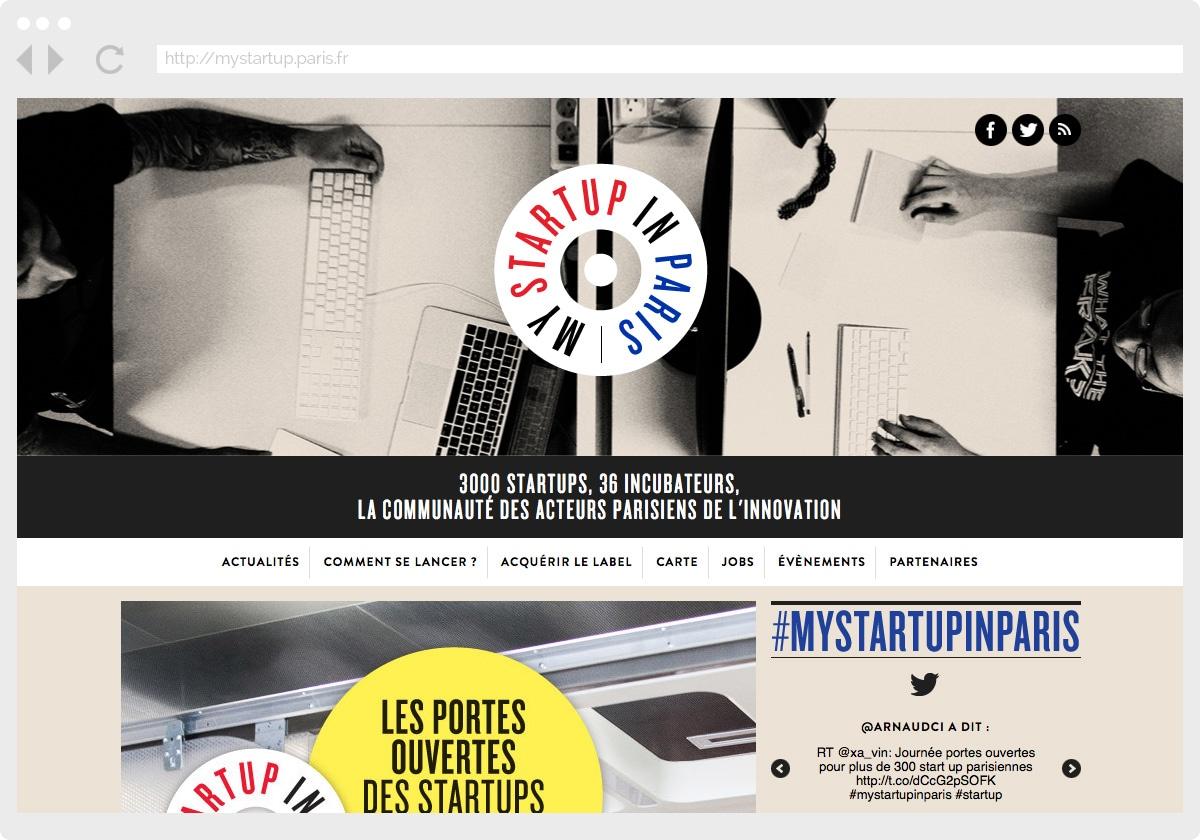 Ecran 1 du site My Startup in Paris