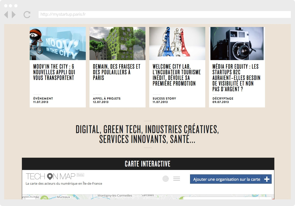 Ecran 2 du site My Startup in Paris