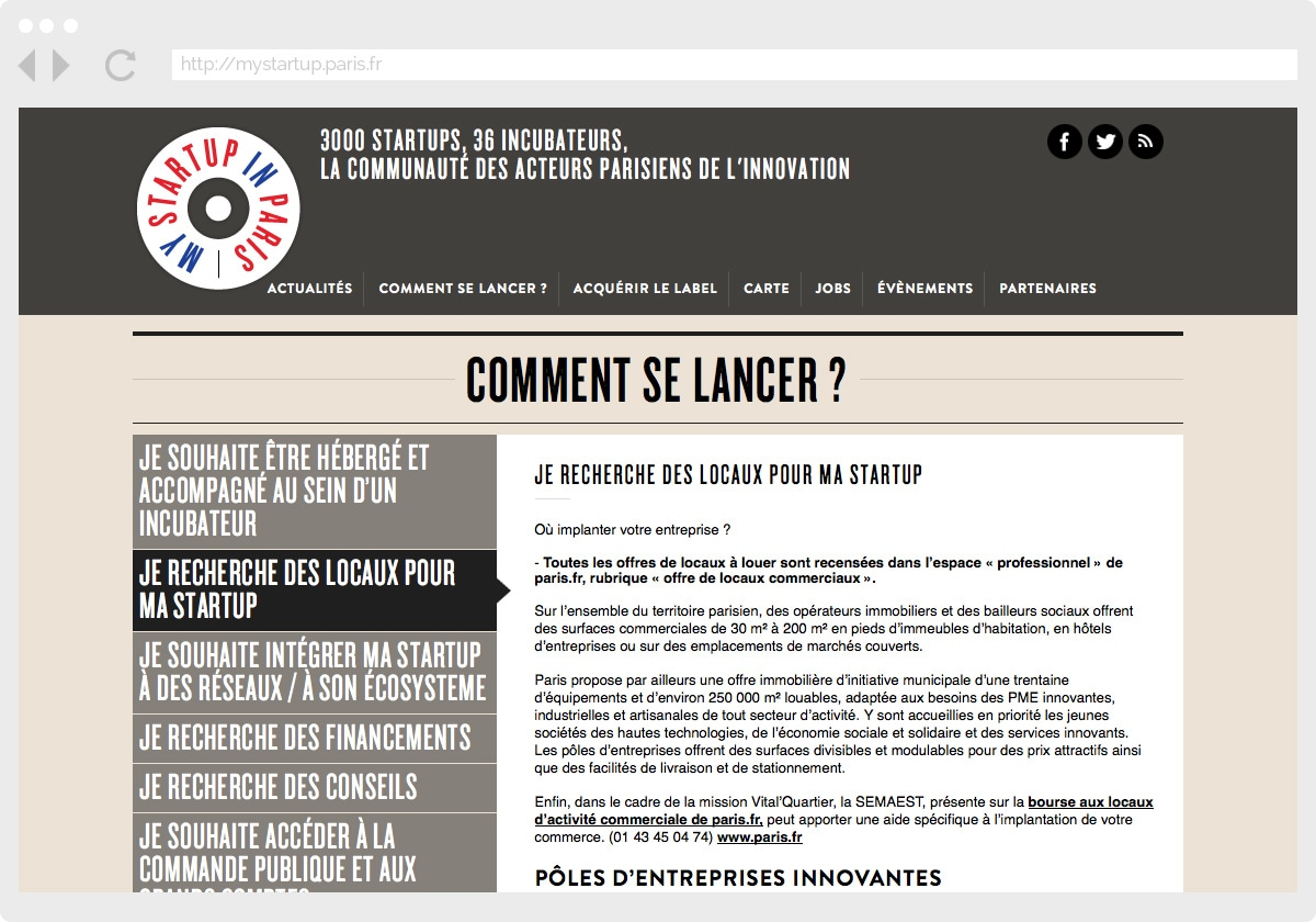 Ecran 3 du site My Startup in Paris