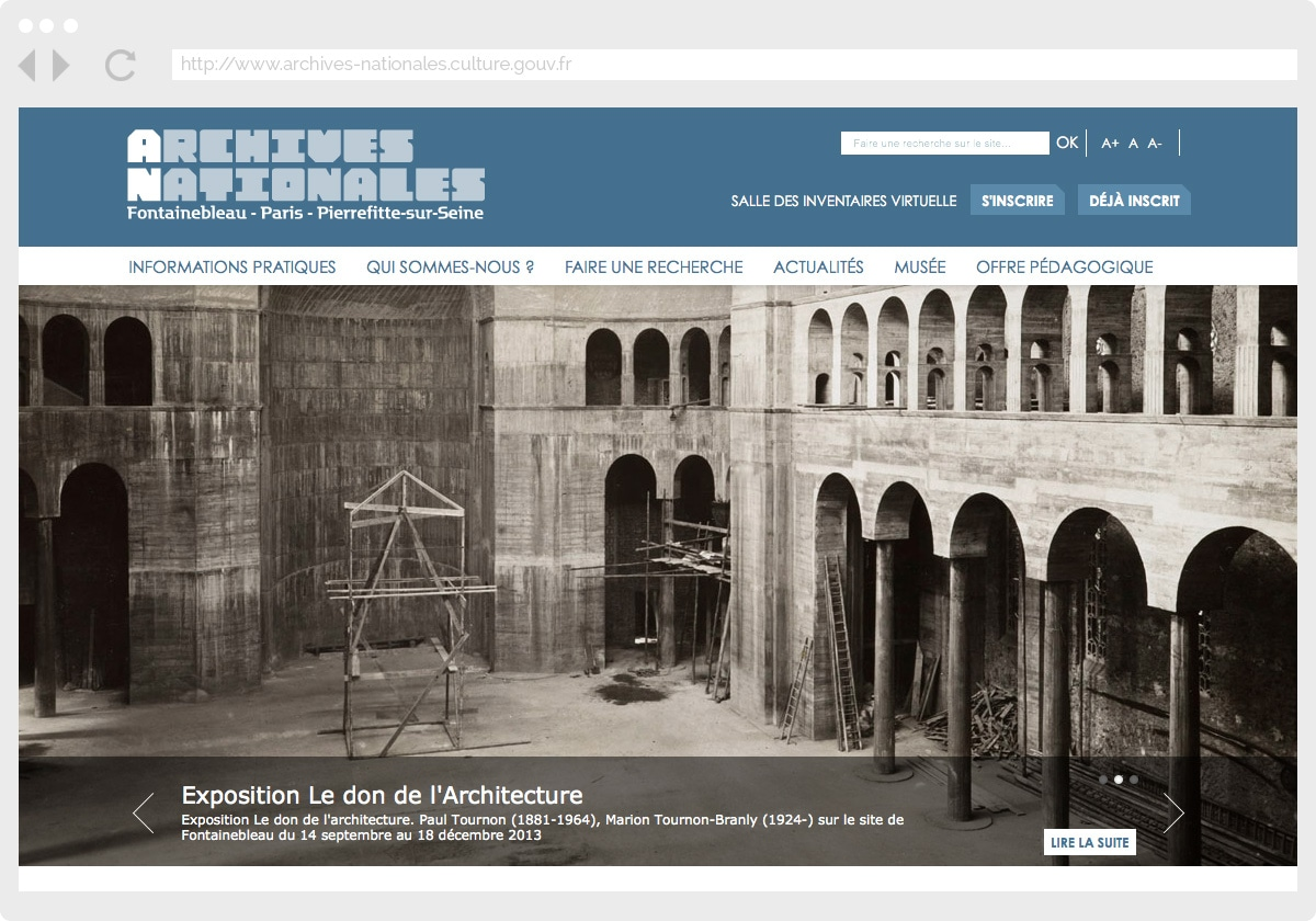 Ecran 1 du site Archives Nationales