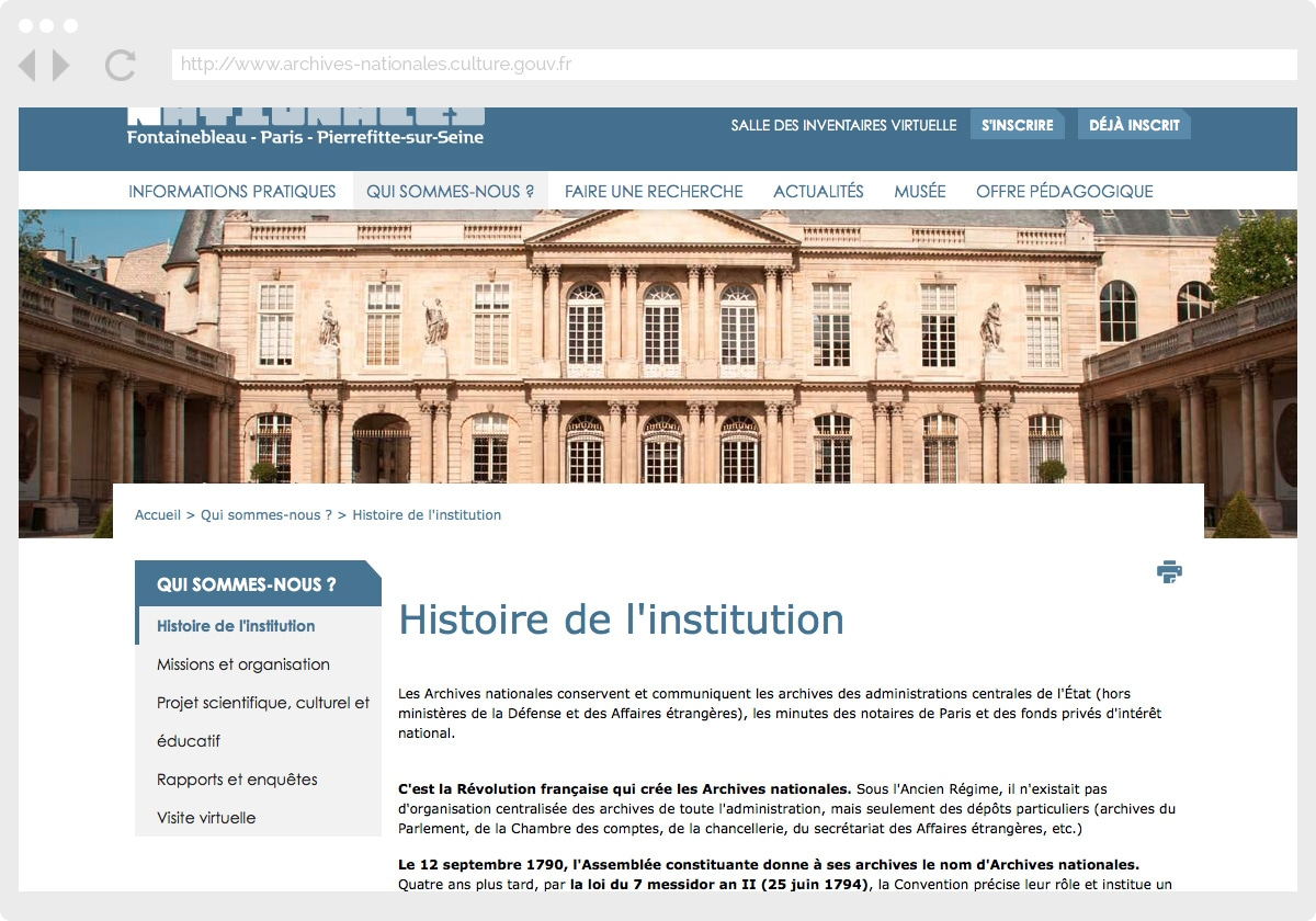 Ecran 3 du site Archives Nationales