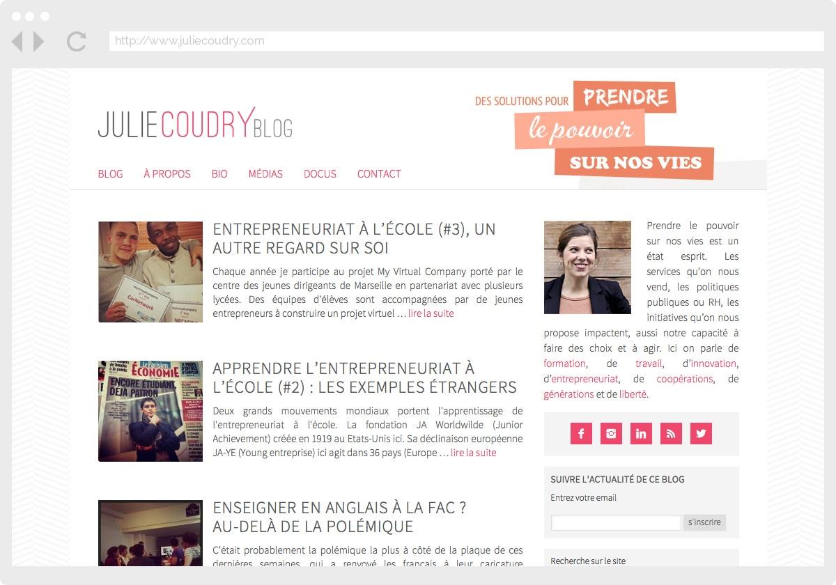 Ecran 1 du site Julie Coudry