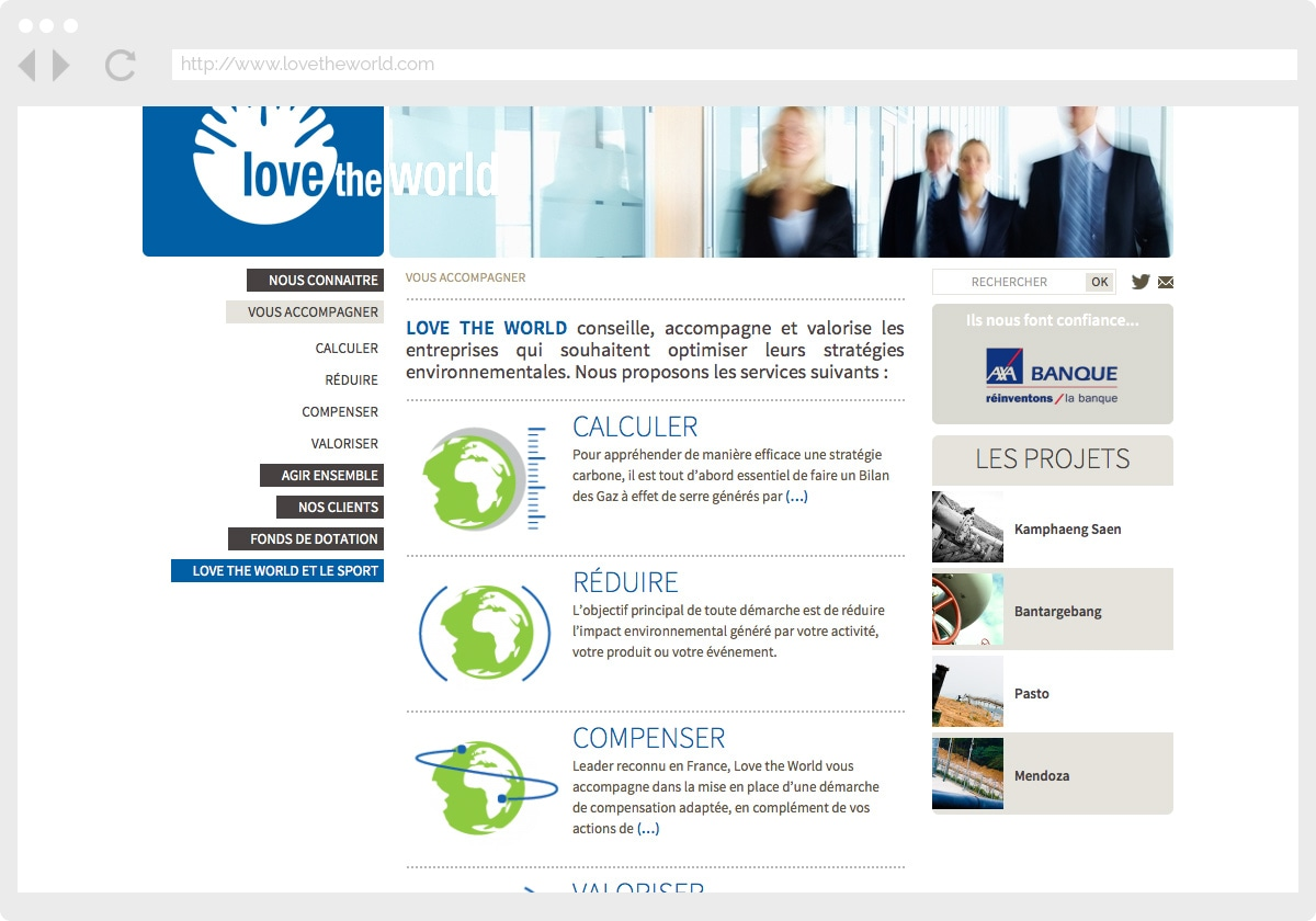 Ecran 2 du site Love The World