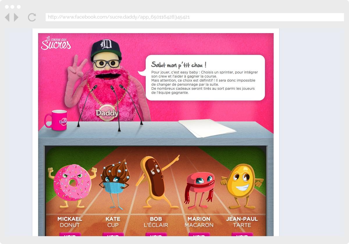 Ecran 1 du site Daddy : la course aux sucres