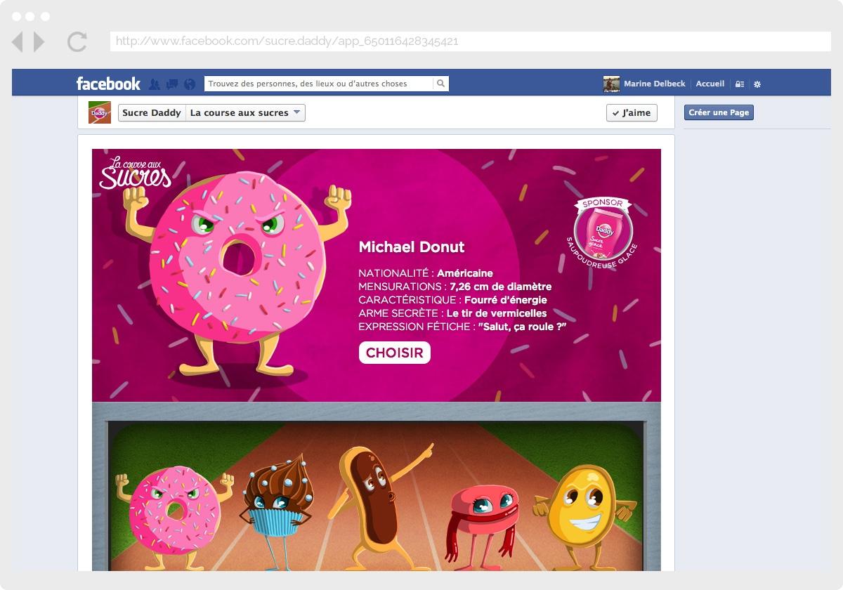 Ecran 2 du site Daddy : la course aux sucres