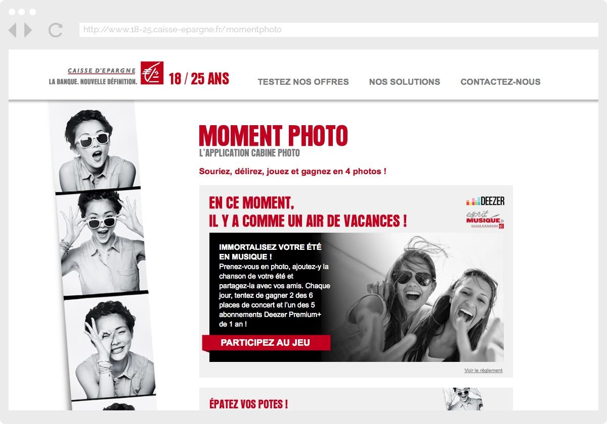 Ecran 1 du site Caisse d'épargne : moment photo