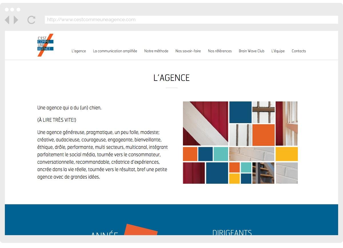 Ecran 2 du site C'est Comme Une Agence