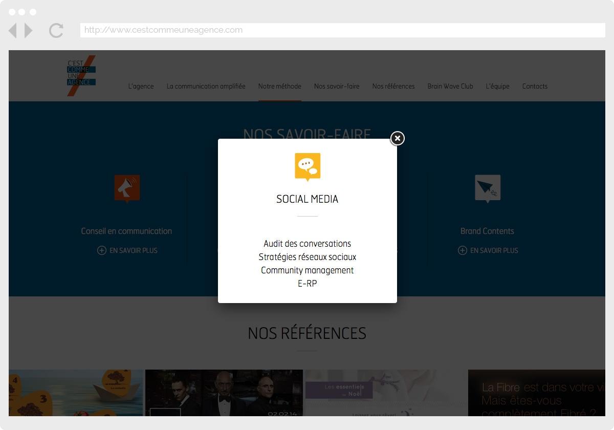Ecran 3 du site C'est Comme Une Agence