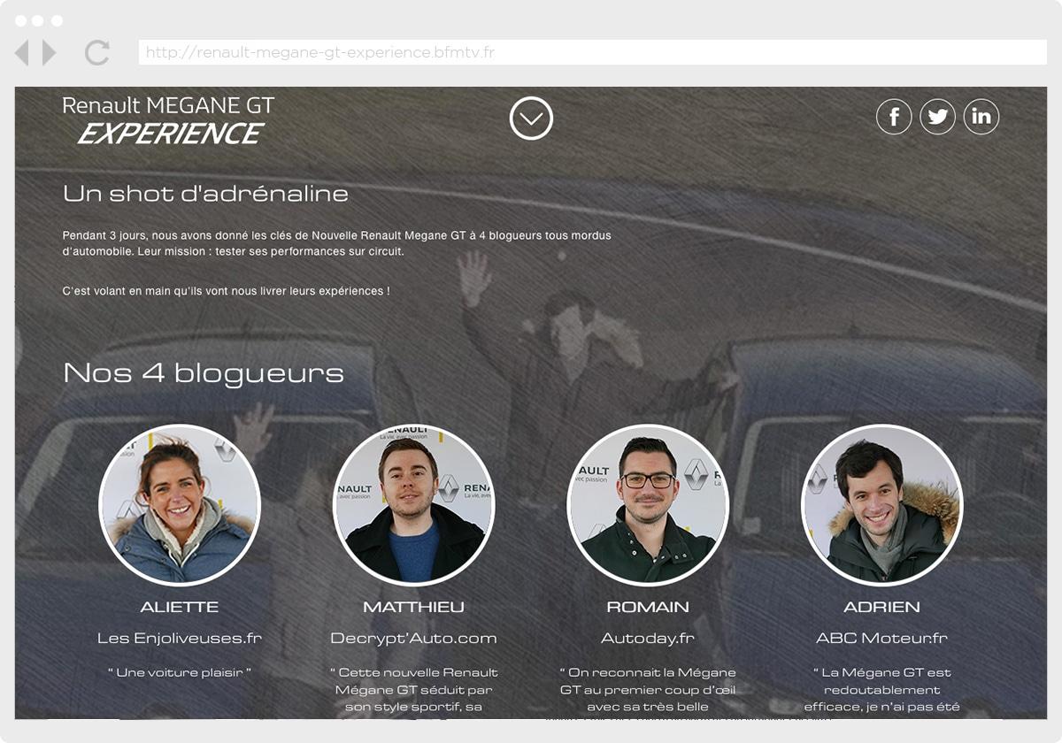 Ecran 2 du site Renault Megane GT Experience