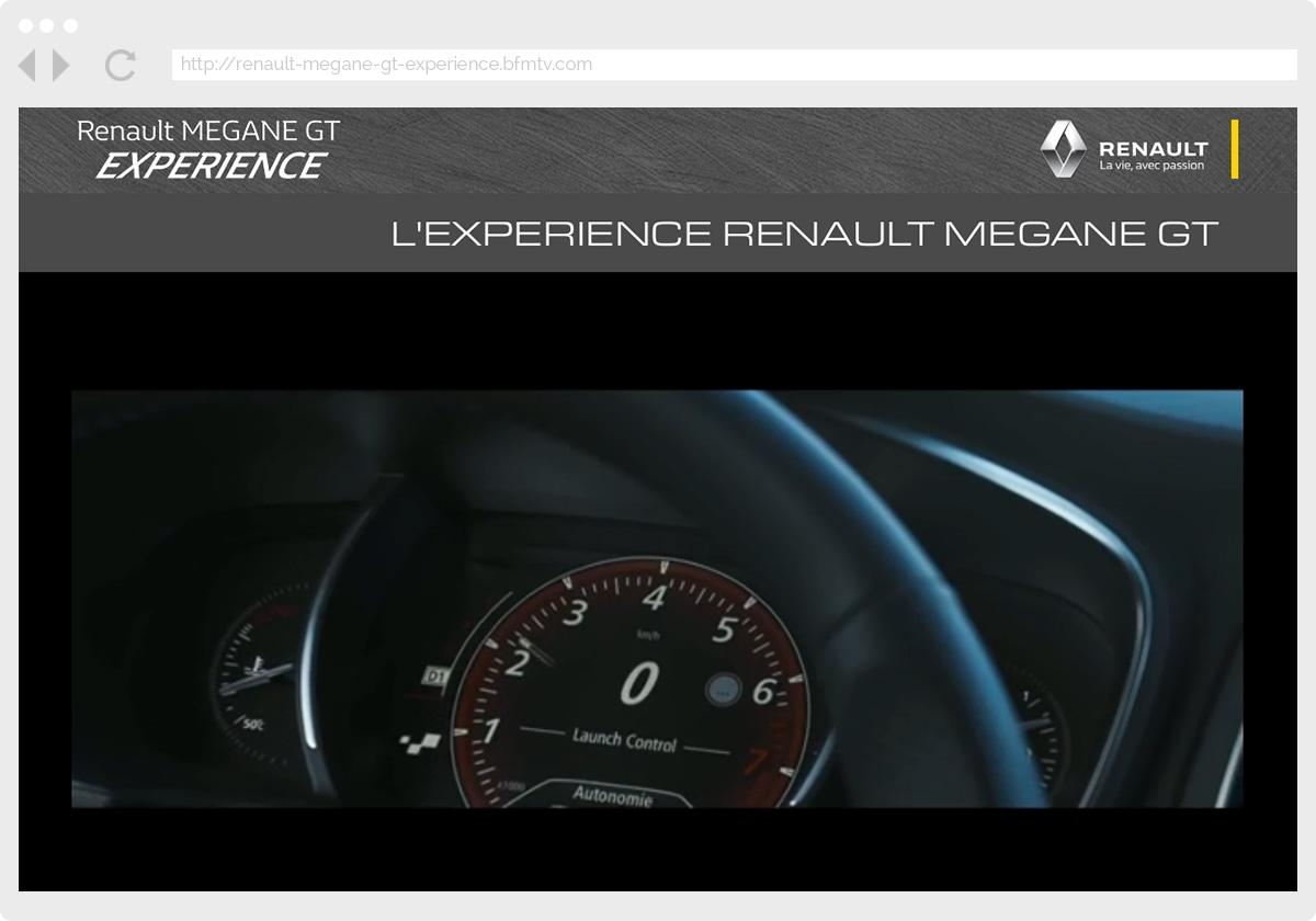 Ecran 1 du site Renault Megane GT Experience