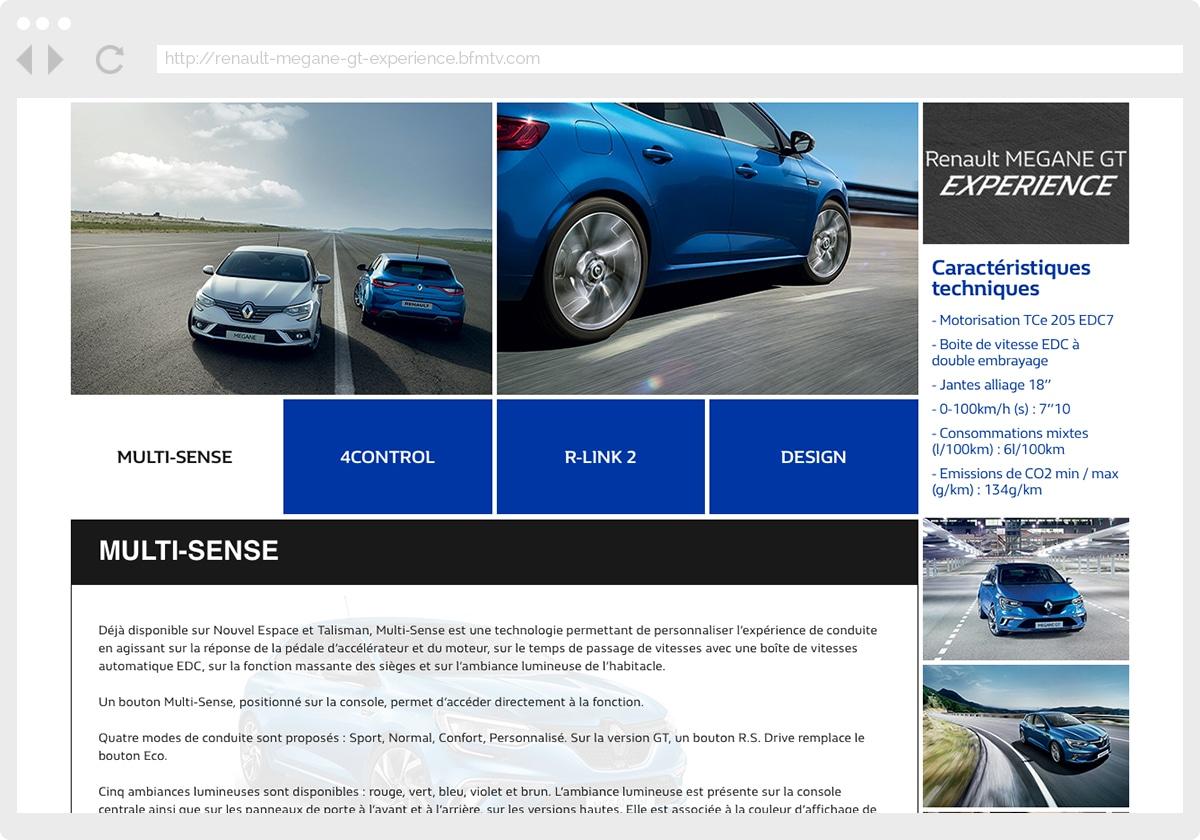 Ecran 3 du site Renault Megane GT Experience