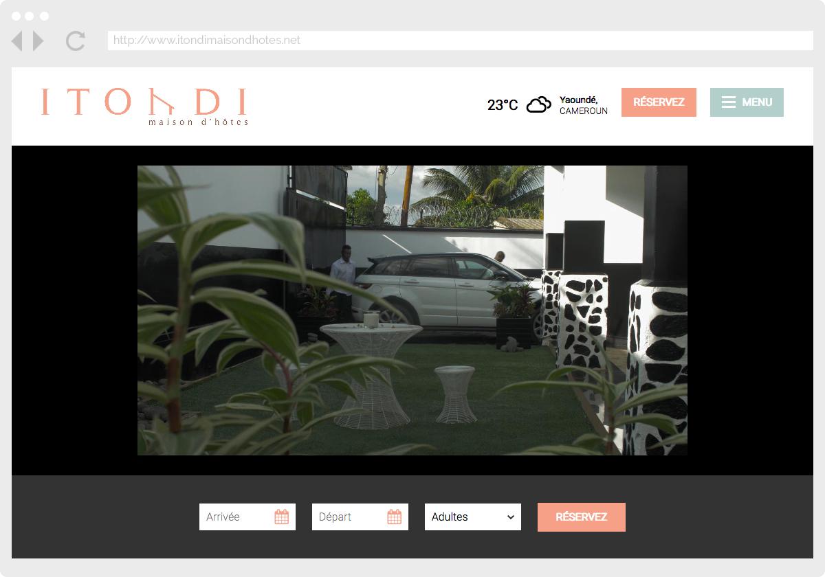 Ecran 1 du site Itondi, maison d'hôtes