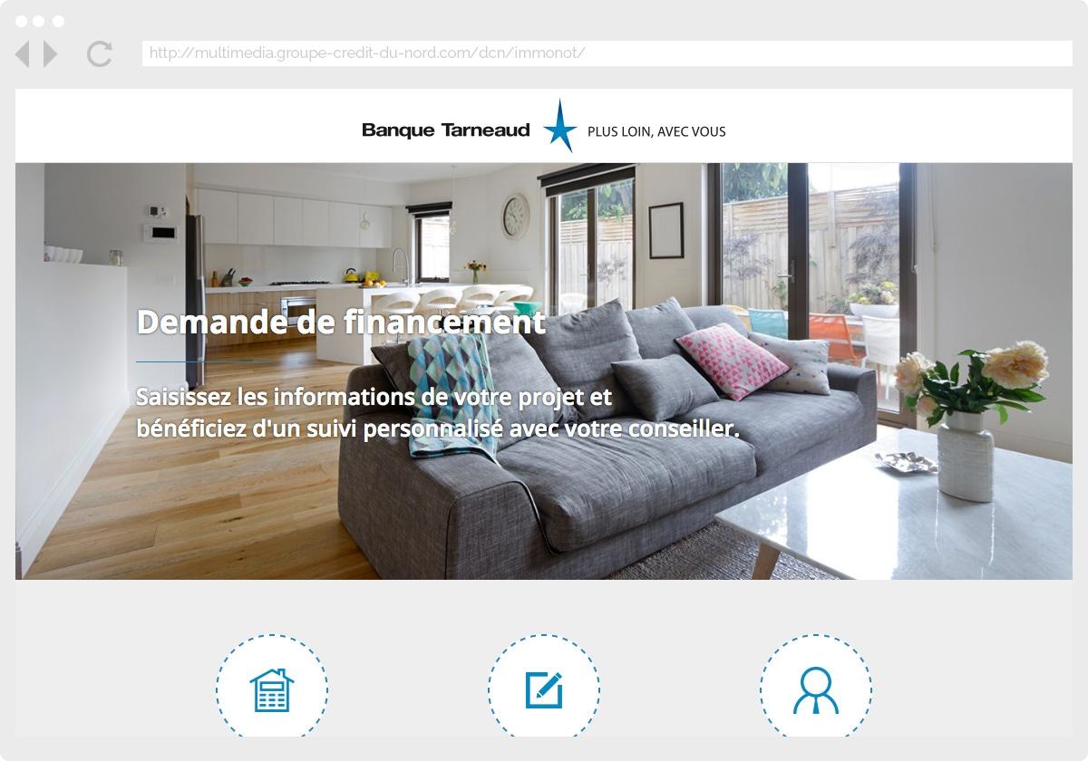 Ecran 1 du site Banque Tarneaud