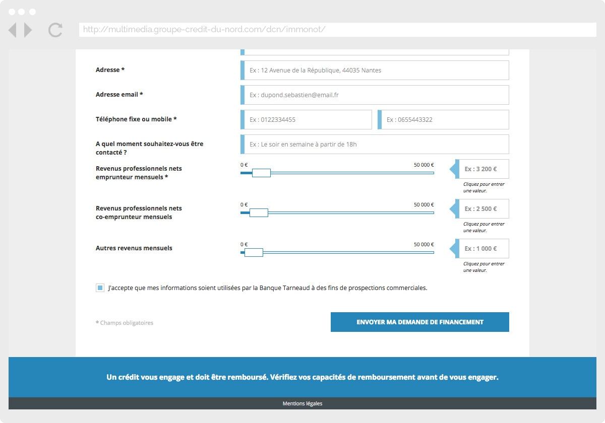 Ecran 3 du site Banque Tarneaud