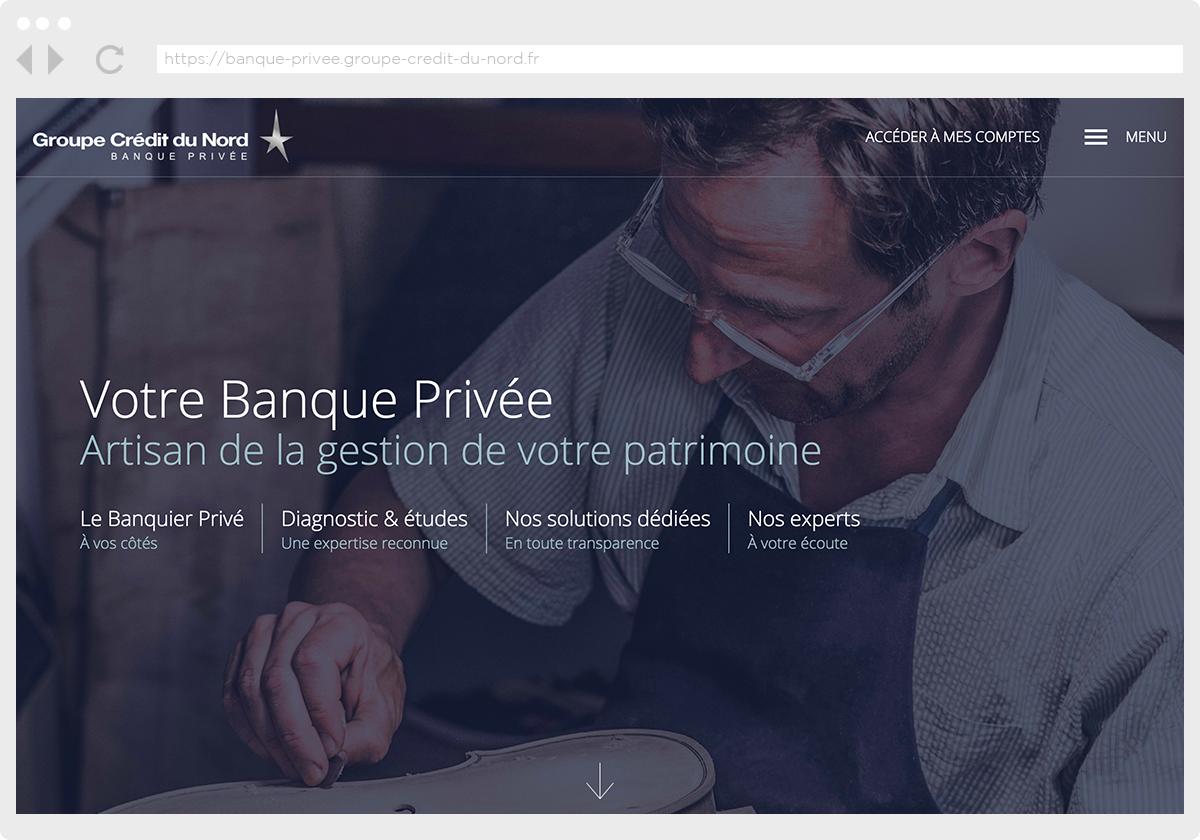 Ecran 1 du site Banque Privée
