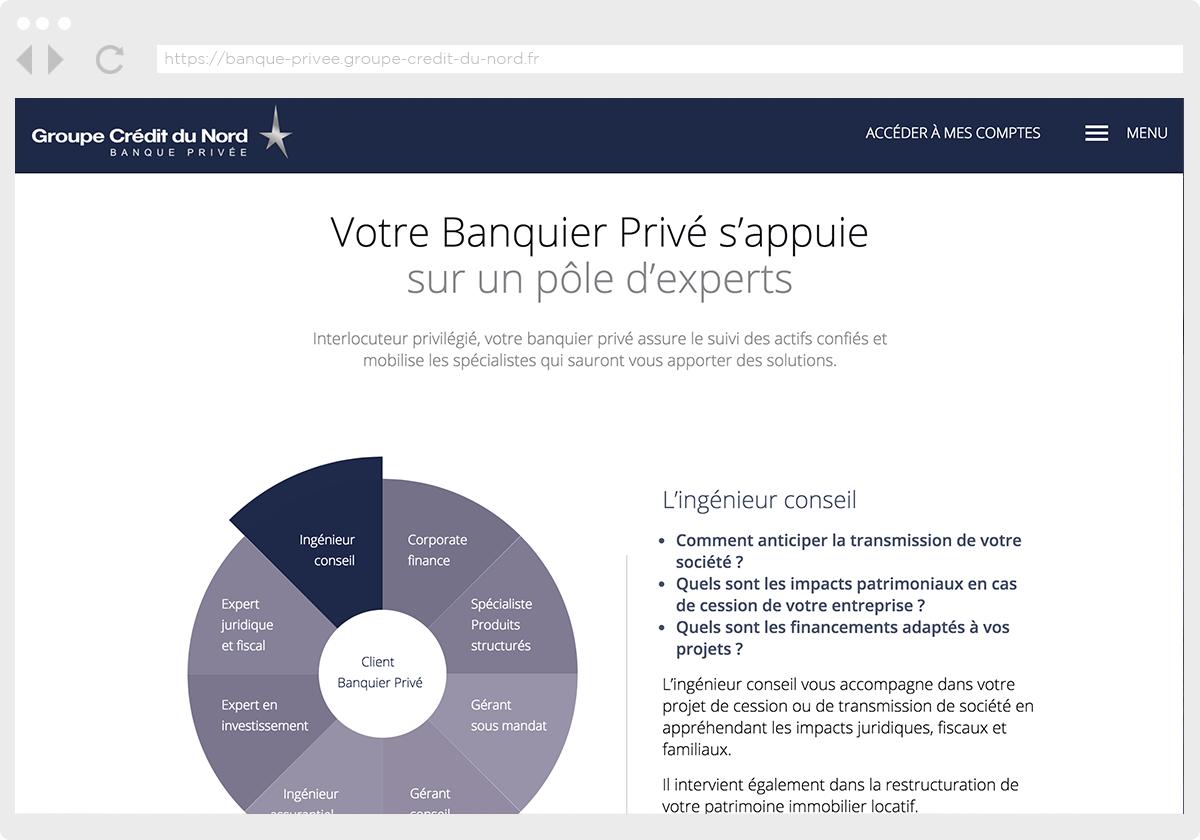 Ecran 2 du site Banque Privée