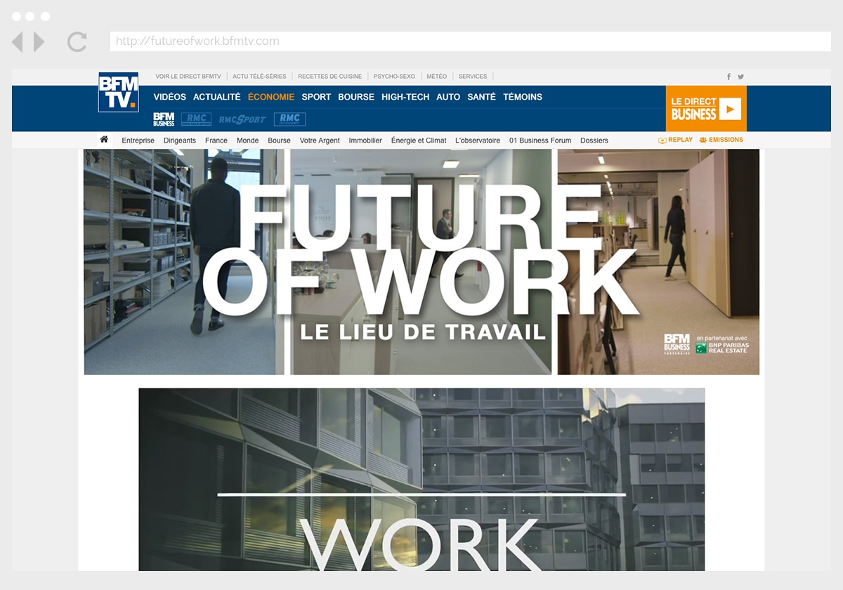 Ecran 1 du site Future Of Work