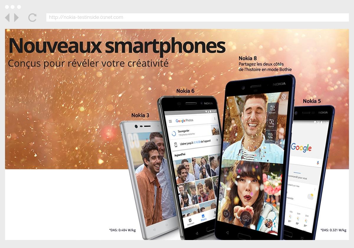 Ecran 3 du site Nokia 8