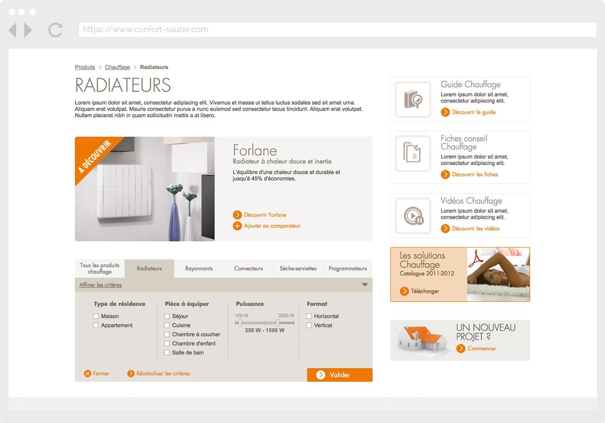Ecran 2 du site Sauter Confort