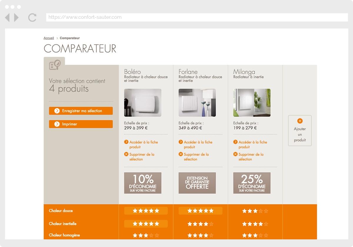 Ecran 3 du site Sauter Confort
