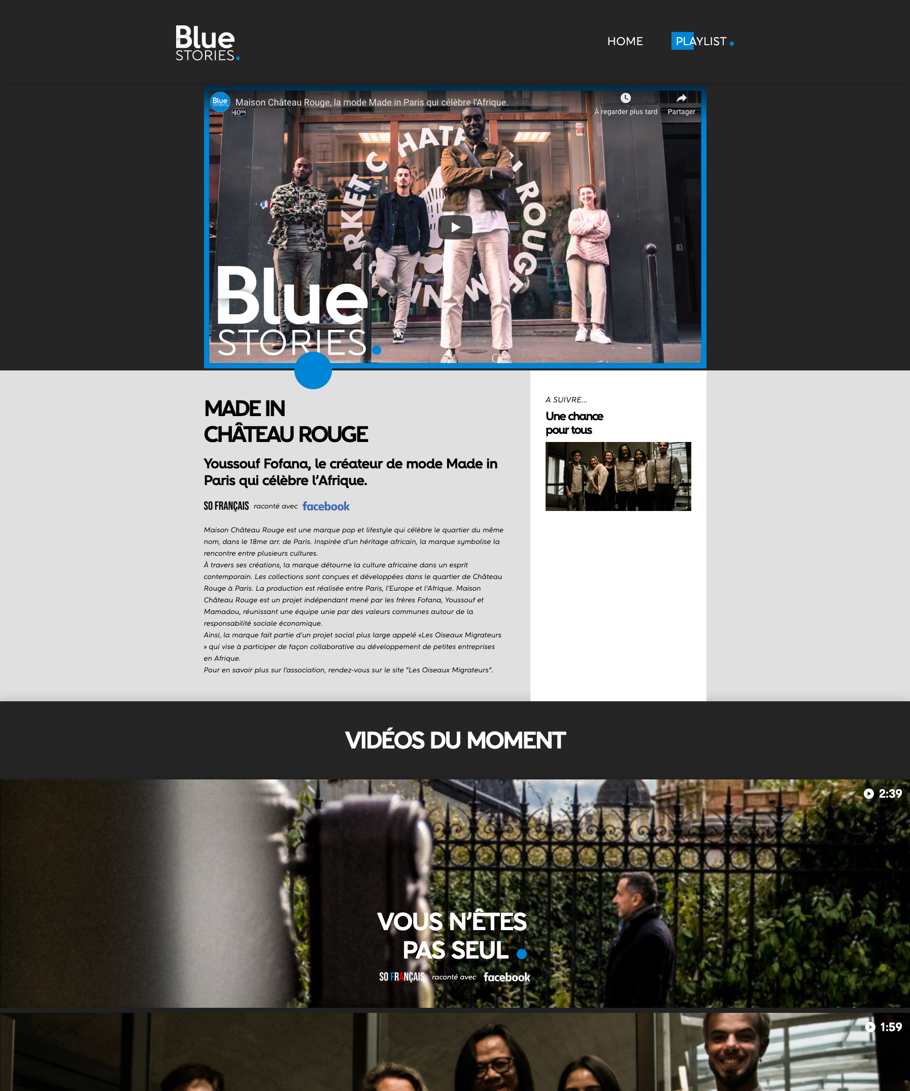 Ecran 1 du site Blue Stories