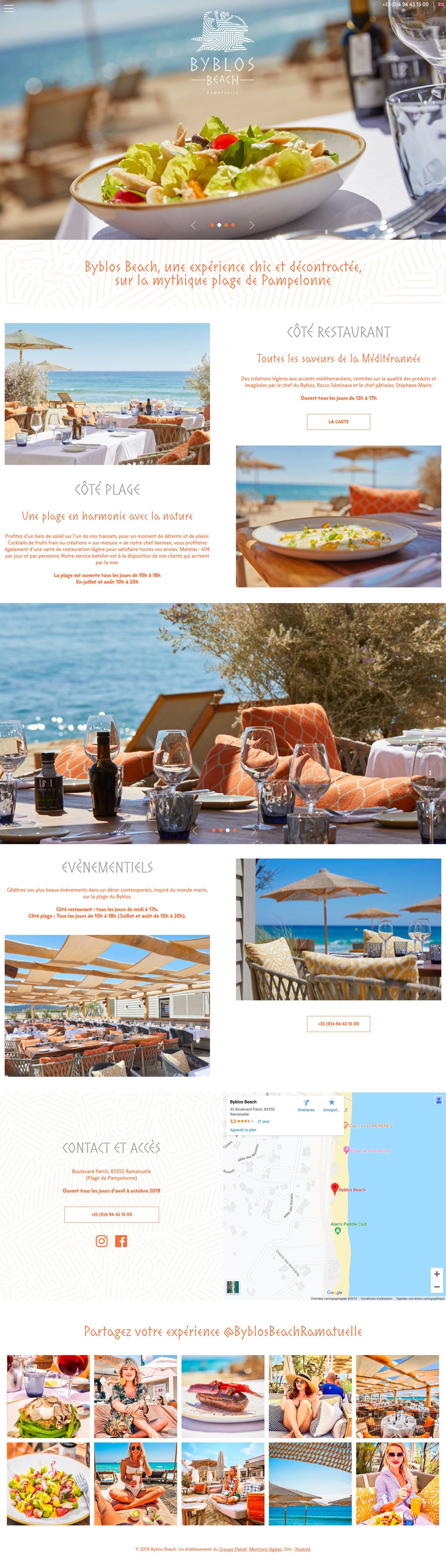 Ecran 1 du site Byblos Beach