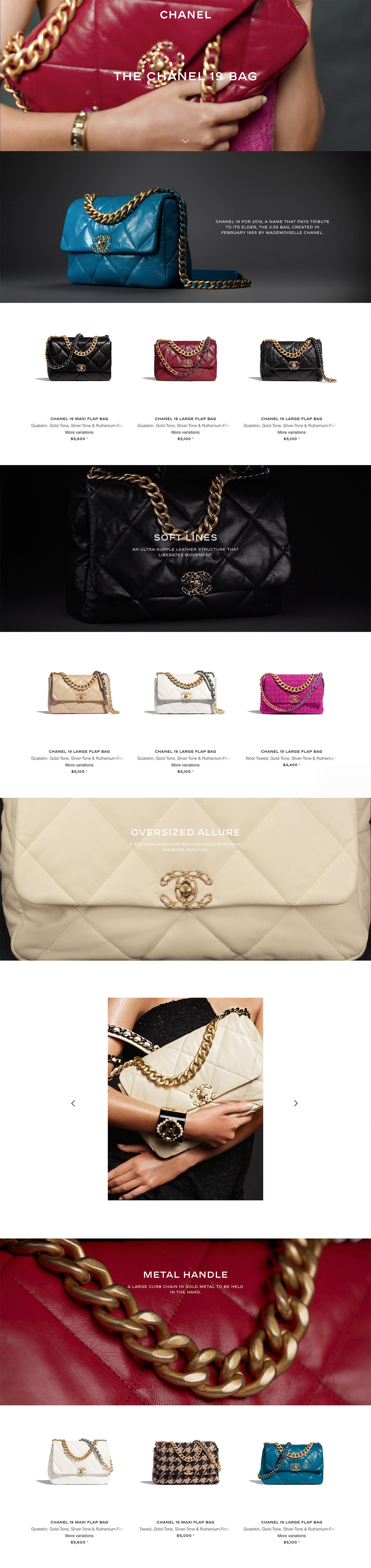Ecran 1 du site Sacs Chanel 19