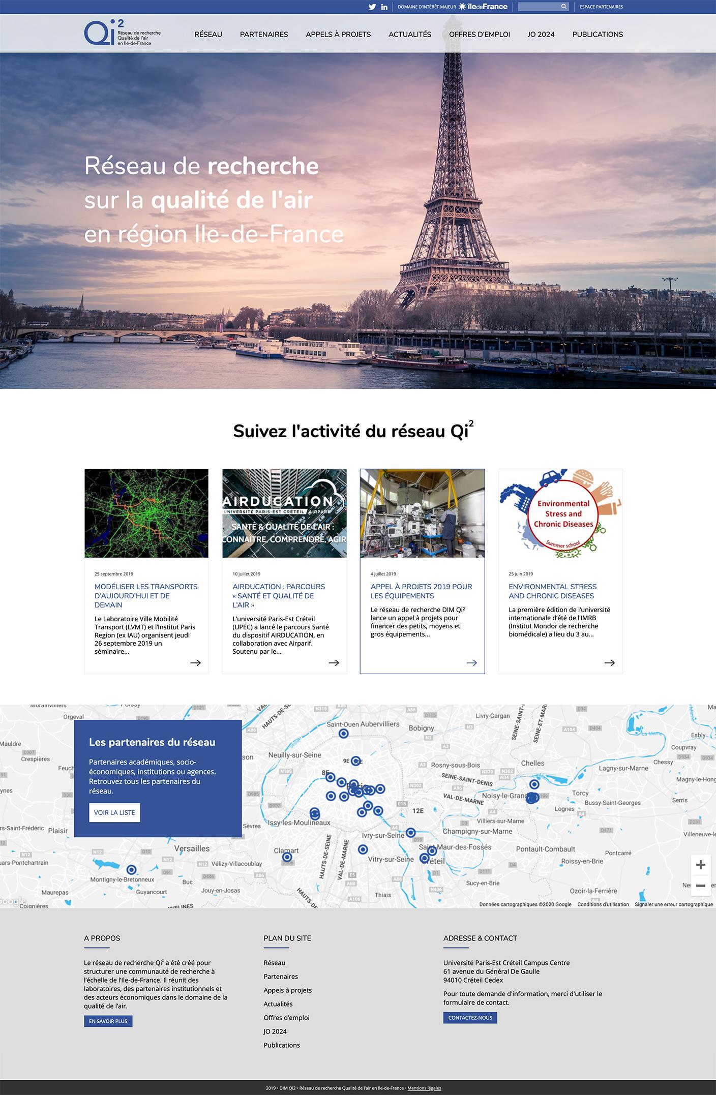 Ecran 1 du site Réseau Qi2