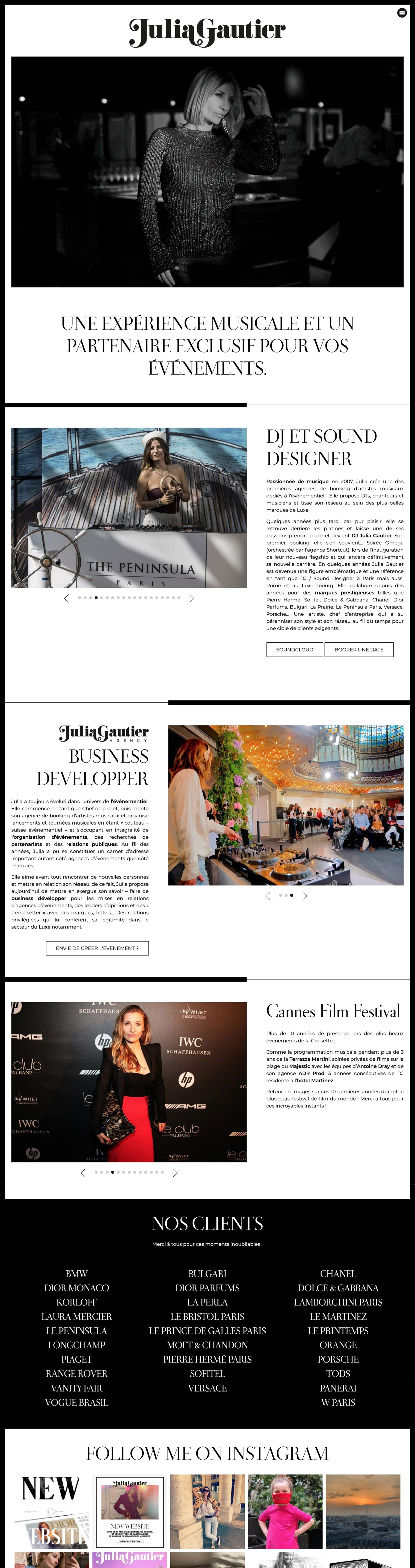 Ecran 1 du site Julia Gautier