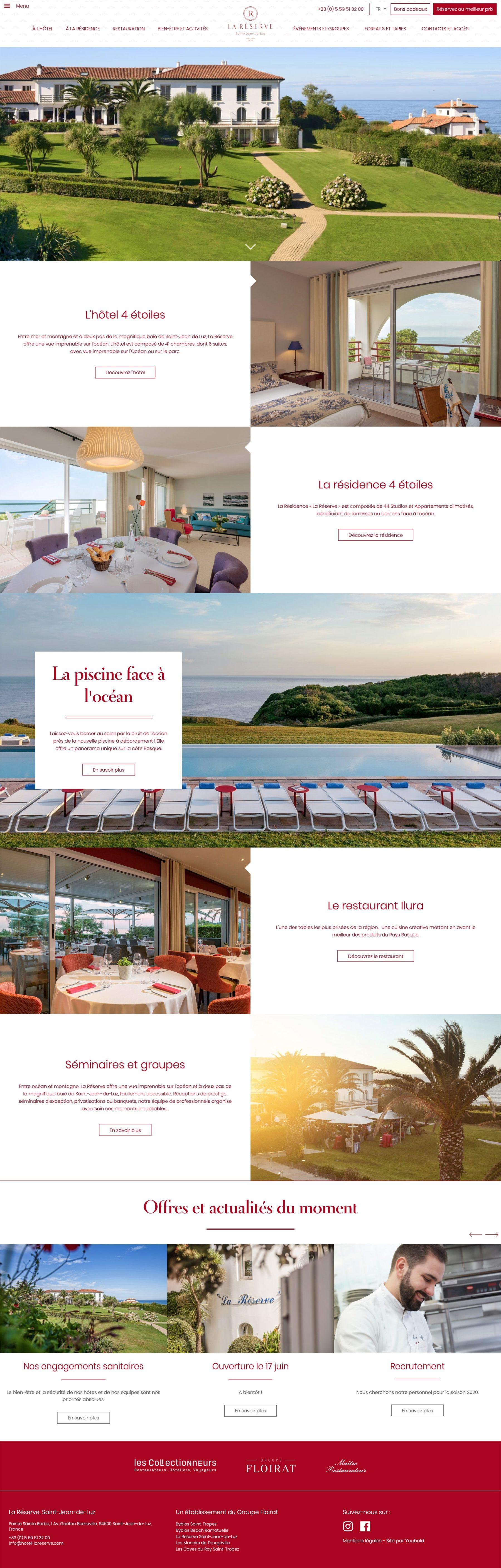 Ecran 1 du site Hôtel La Réserve