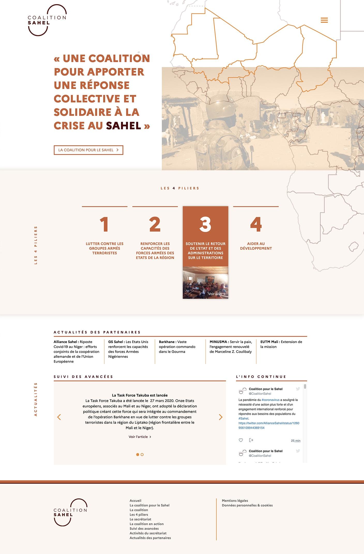 Ecran 1 du site Coalition Sahel
