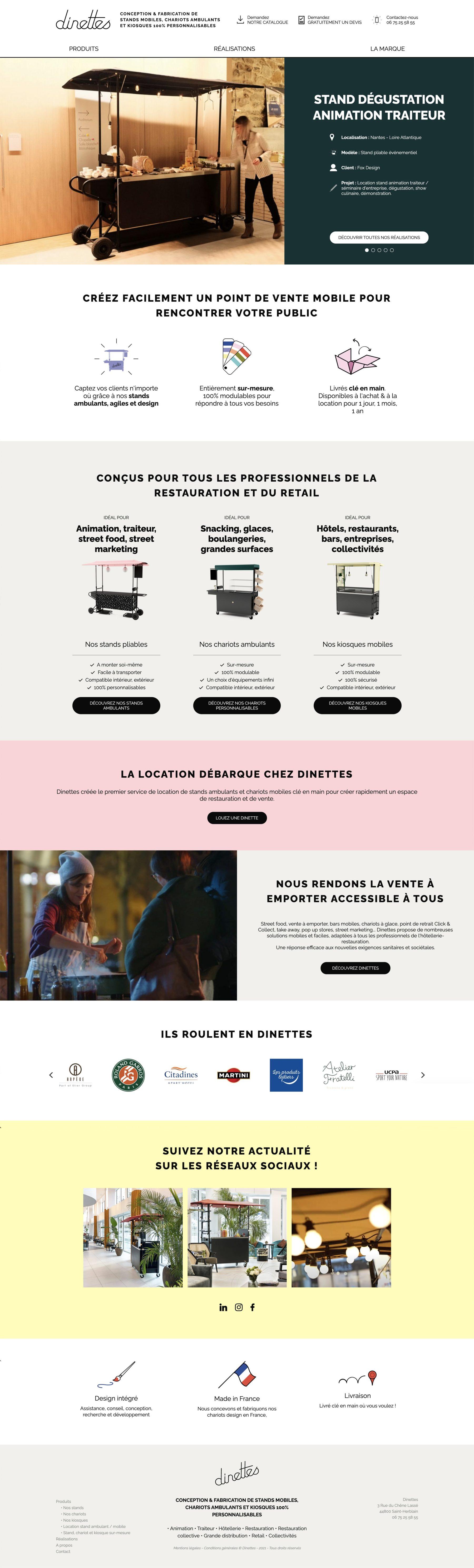 Ecran 1 du site Dinettes